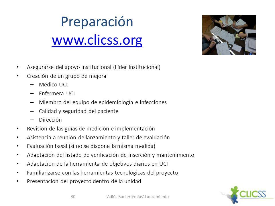 Preparación www.clicss.org www.clicss.org Asegurarse del apoyo institucional (Líder Institucional) Creación de un grupo de mejora – Médico UCI – Enfer