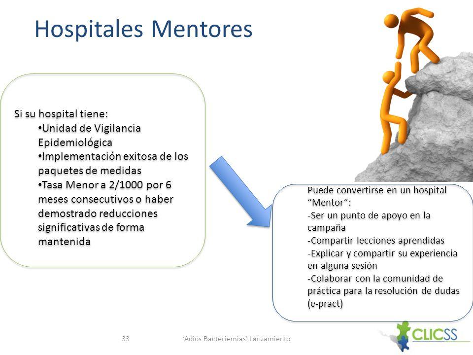 Hospitales Mentores Adiós Bacteriemias Lanzamiento33 Si su hospital tiene: Unidad de Vigilancia Epidemiológica Implementación exitosa de los paquetes