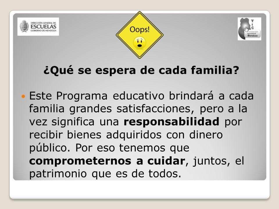 ¿Qué se espera de cada familia? Este Programa educativo brindará a cada familia grandes satisfacciones, pero a la vez significa una responsabilidad po