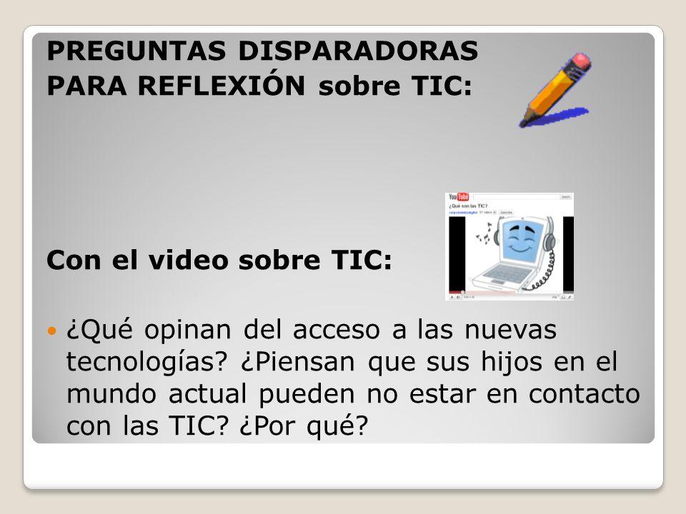 PREGUNTAS DISPARADORAS PARA REFLEXIÓN sobre TIC: Con la imagen: Observen la siguiente imagen.