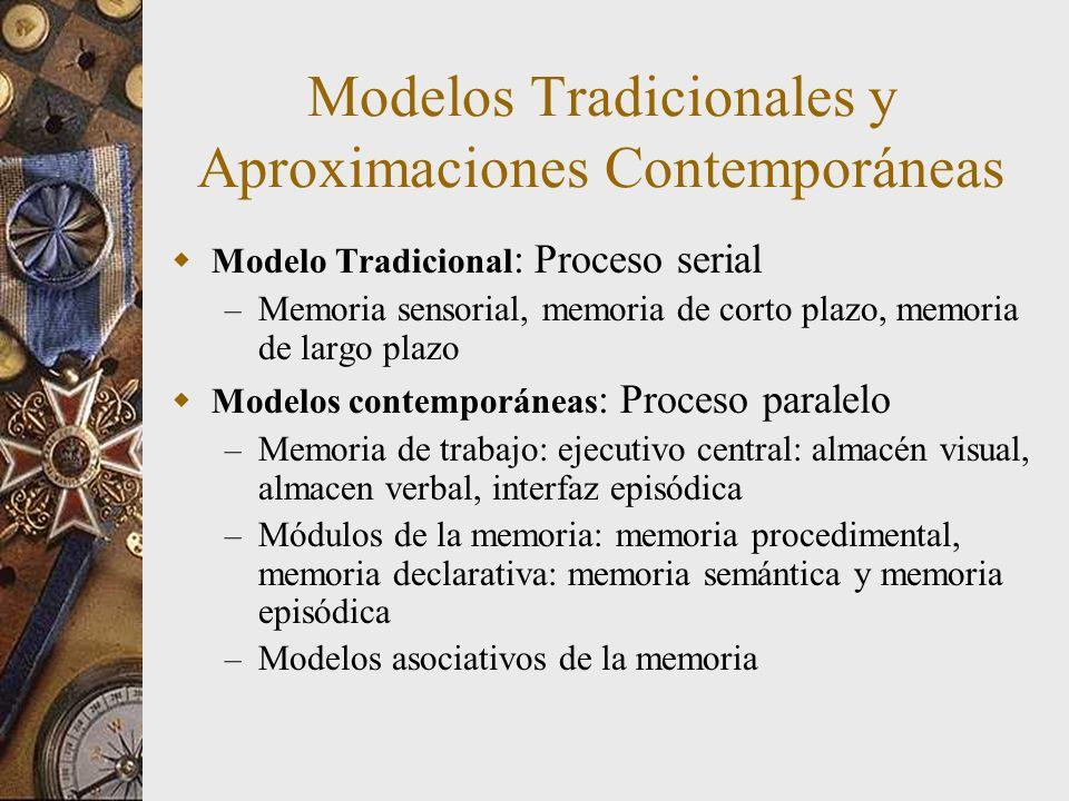 Modelos Tradicionales y Aproximaciones Contemporáneas Modelo Tradicional : Proceso serial – Memoria sensorial, memoria de corto plazo, memoria de largo plazo Modelos contemporáneas : Proceso paralelo – Memoria de trabajo: ejecutivo central: almacén visual, almacen verbal, interfaz episódica – Módulos de la memoria: memoria procedimental, memoria declarativa: memoria semántica y memoria episódica – Modelos asociativos de la memoria