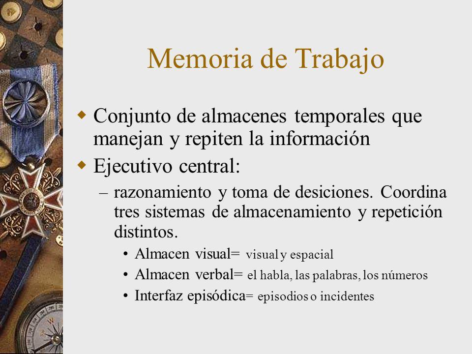 Memoria de Trabajo Conjunto de almacenes temporales que manejan y repiten la información Ejecutivo central: – razonamiento y toma de desiciones. Coord