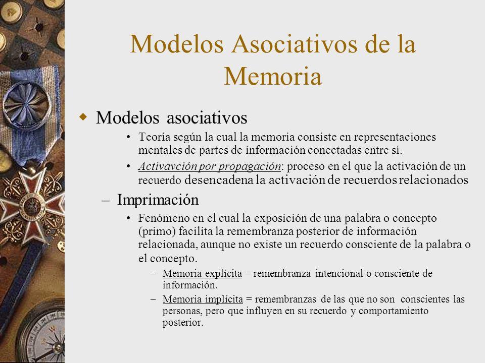 Modelos Asociativos de la Memoria Modelos asociativos Teoría según la cual la memoria consiste en representaciones mentales de partes de información c