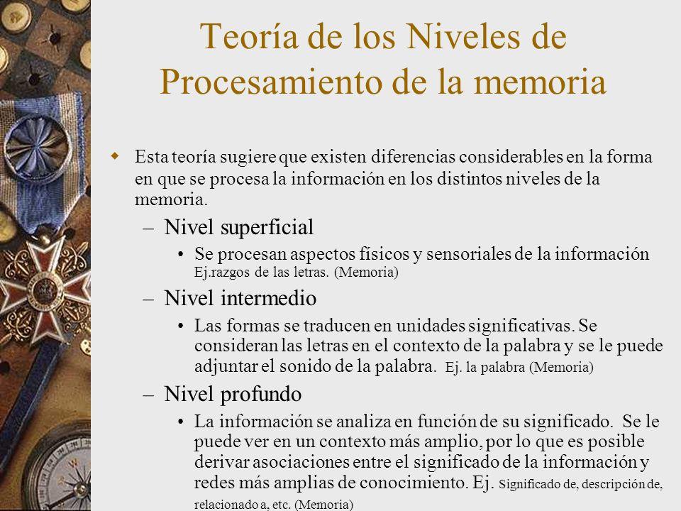 Teoría de los Niveles de Procesamiento de la memoria Esta teoría sugiere que existen diferencias considerables en la forma en que se procesa la información en los distintos niveles de la memoria.
