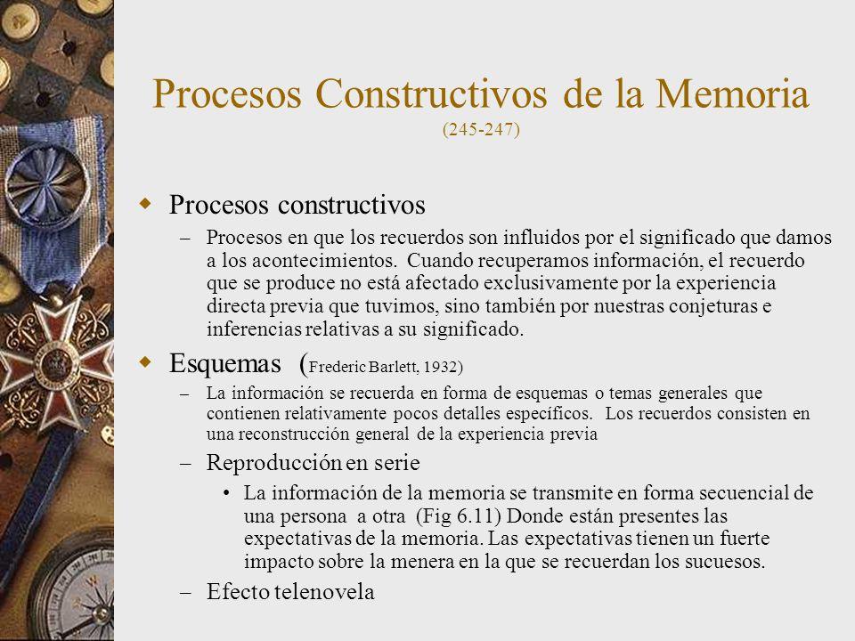 Procesos Constructivos de la Memoria (245-247) Procesos constructivos – Procesos en que los recuerdos son influidos por el significado que damos a los acontecimientos.