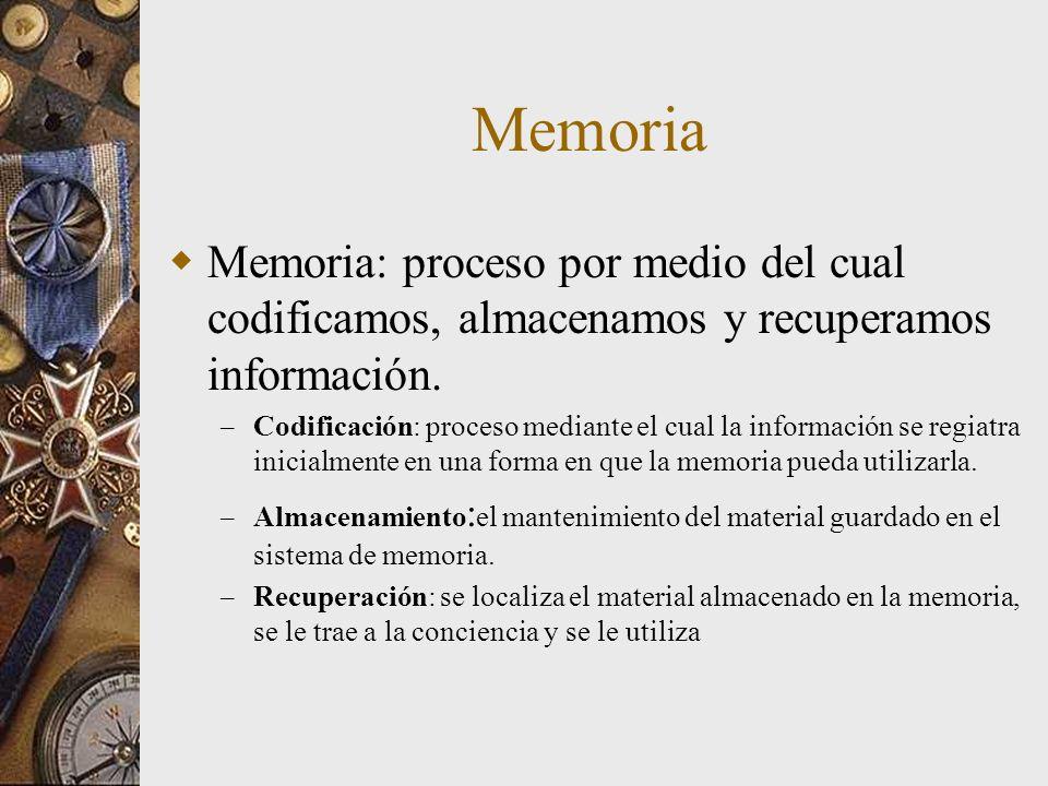 Memoria Memoria: proceso por medio del cual codificamos, almacenamos y recuperamos información. – Codificación: proceso mediante el cual la informació