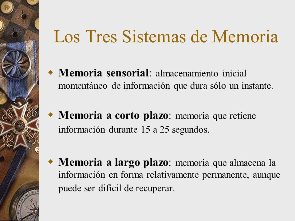 Módulos de la Memoria a largo Plazo Memoria a largo plazo – Memoria procedimental Remembranza de habilidades y hábitos (recuerdas como montar bicicleta) – Memoria declarativa Remembranza de información objetiva (nombres, rostros, fechas) –Memoria semántica (remembranza de conocimientos y hechos generales acerca del mundo y de las reglas de lógica que se emplean para deducir otros hechos Ej.