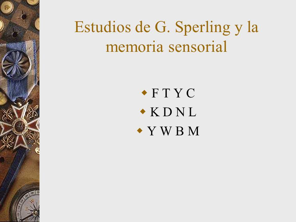 Estudios de G. Sperling y la memoria sensorial F T Y C K D N L Y W B M