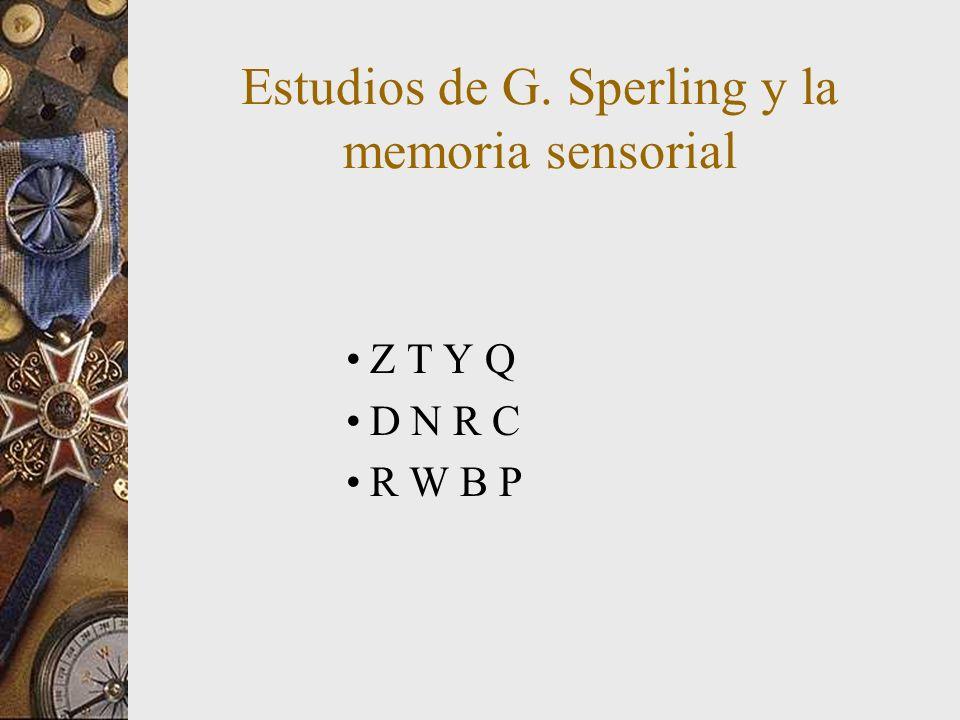 Estudios de G. Sperling y la memoria sensorial Z T Y Q D N R C R W B P