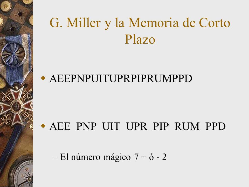 G. Miller y la Memoria de Corto Plazo AEEPNPUITUPRPIPRUMPPD – El número mágico 7 + ó - 2