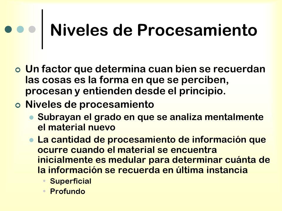 Niveles de Procesamiento Un factor que determina cuan bien se recuerdan las cosas es la forma en que se perciben, procesan y entienden desde el princi