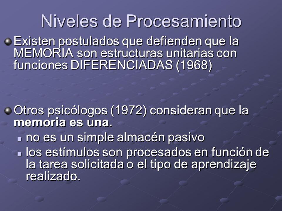 Niveles de Procesamiento Existen postulados que defienden que la MEMORIA son estructuras unitarias con funciones DIFERENCIADAS (1968) Otros psicólogos