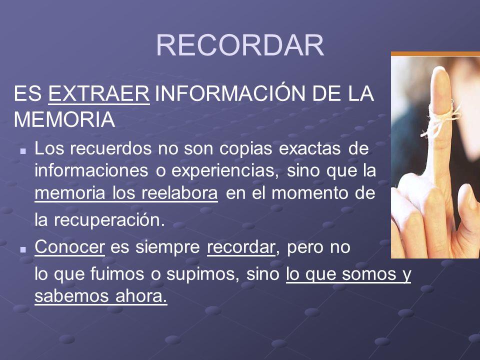 RECORDAR ES EXTRAER INFORMACIÓN DE LA MEMORIA Los recuerdos no son copias exactas de informaciones o experiencias, sino que la memoria los reelabora e
