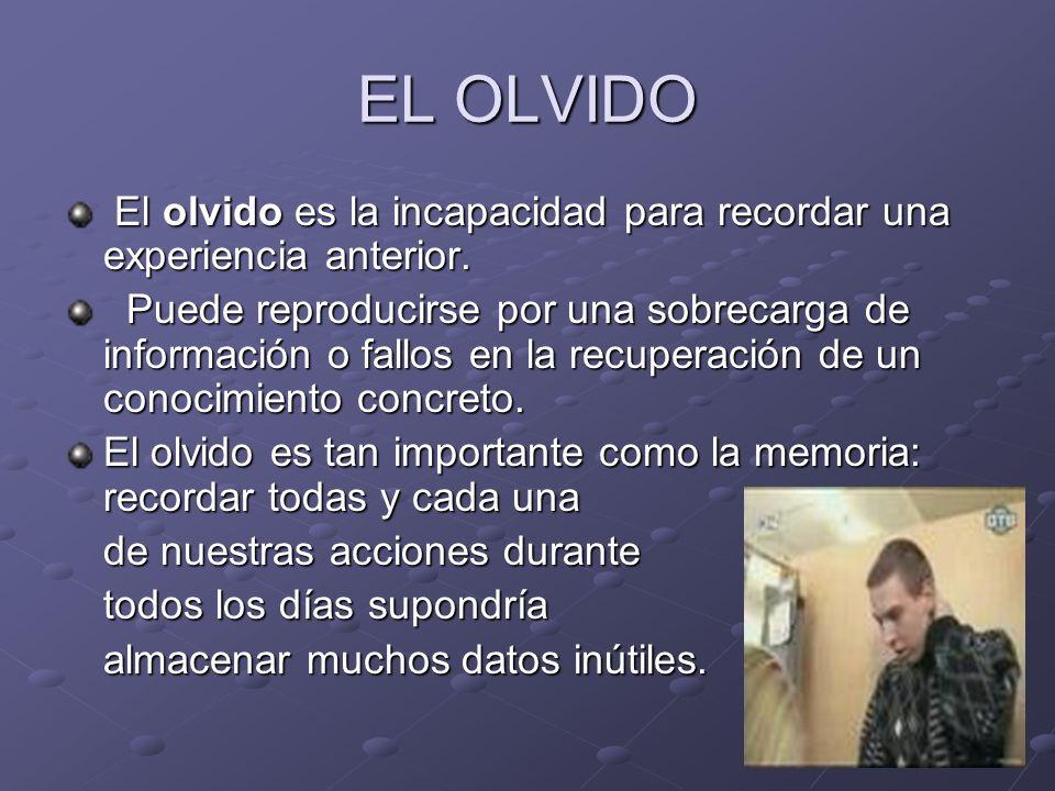 EL OLVIDO El olvido es la incapacidad para recordar una experiencia anterior. El olvido es la incapacidad para recordar una experiencia anterior. Pued