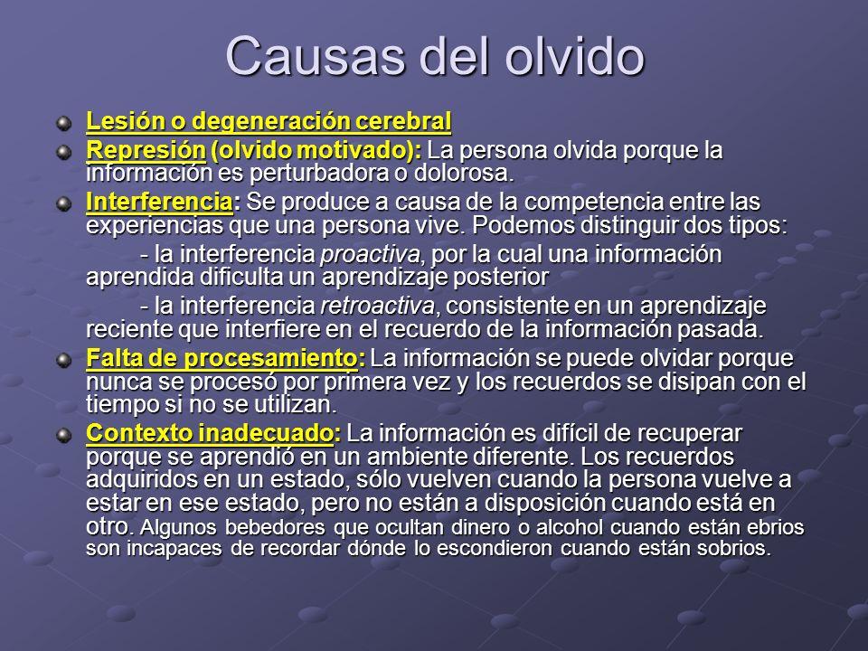 Causas del olvido Lesión o degeneración cerebral Represión (olvido motivado): La persona olvida porque la información es perturbadora o dolorosa. Inte