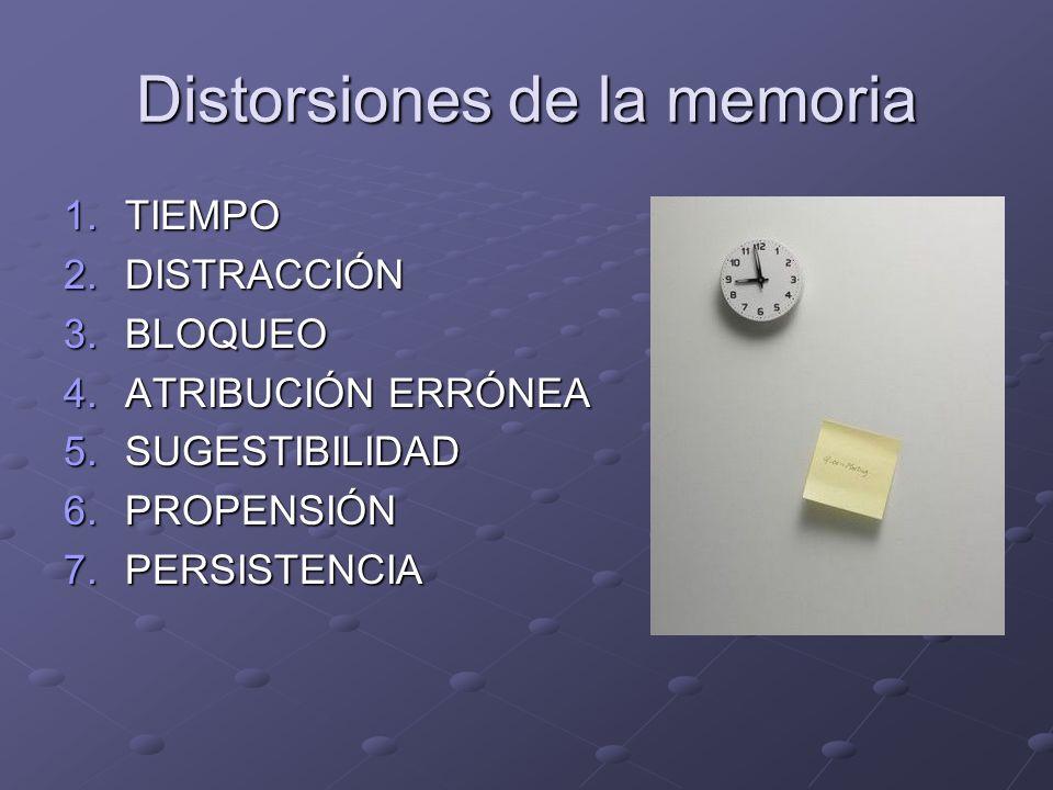 Distorsiones de la memoria 1.TIEMPO 2.DISTRACCIÓN 3.BLOQUEO 4.ATRIBUCIÓN ERRÓNEA 5.SUGESTIBILIDAD 6.PROPENSIÓN 7.PERSISTENCIA