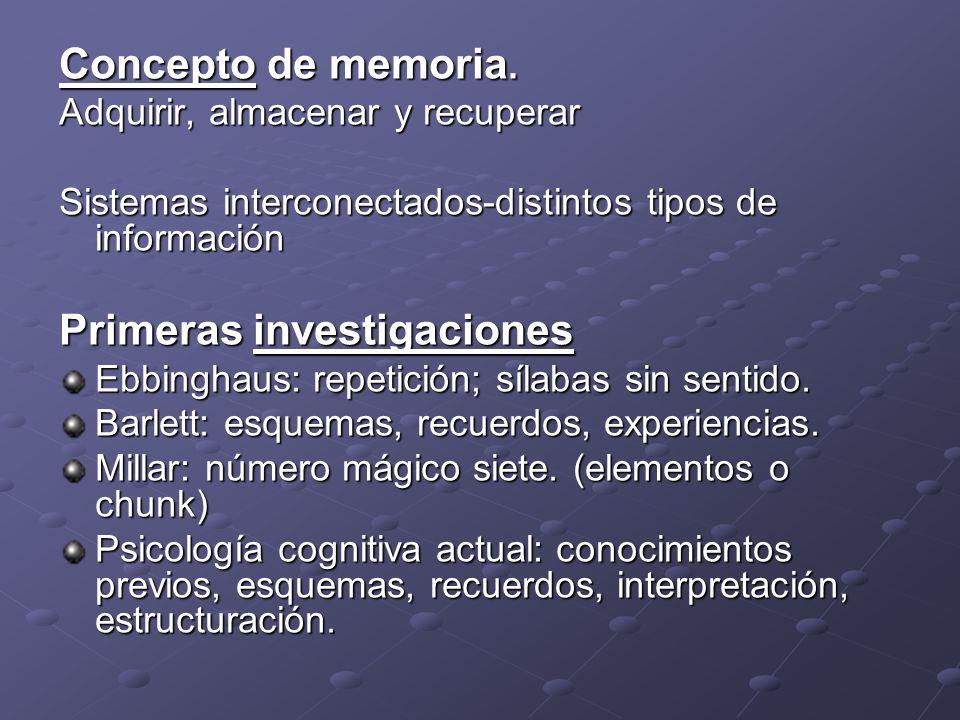 Concepto de memoria. Adquirir, almacenar y recuperar Sistemas interconectados-distintos tipos de información Primeras investigaciones Ebbinghaus: repe
