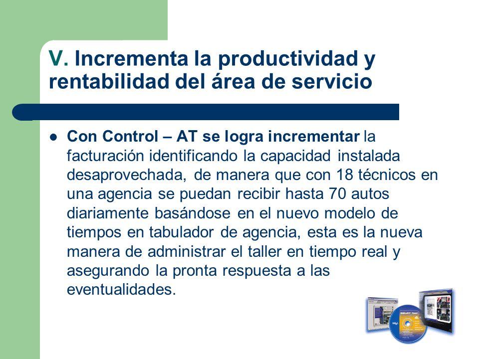 V. Incrementa la productividad y rentabilidad del área de servicio Con Control – AT se logra incrementar la facturación identificando la capacidad ins