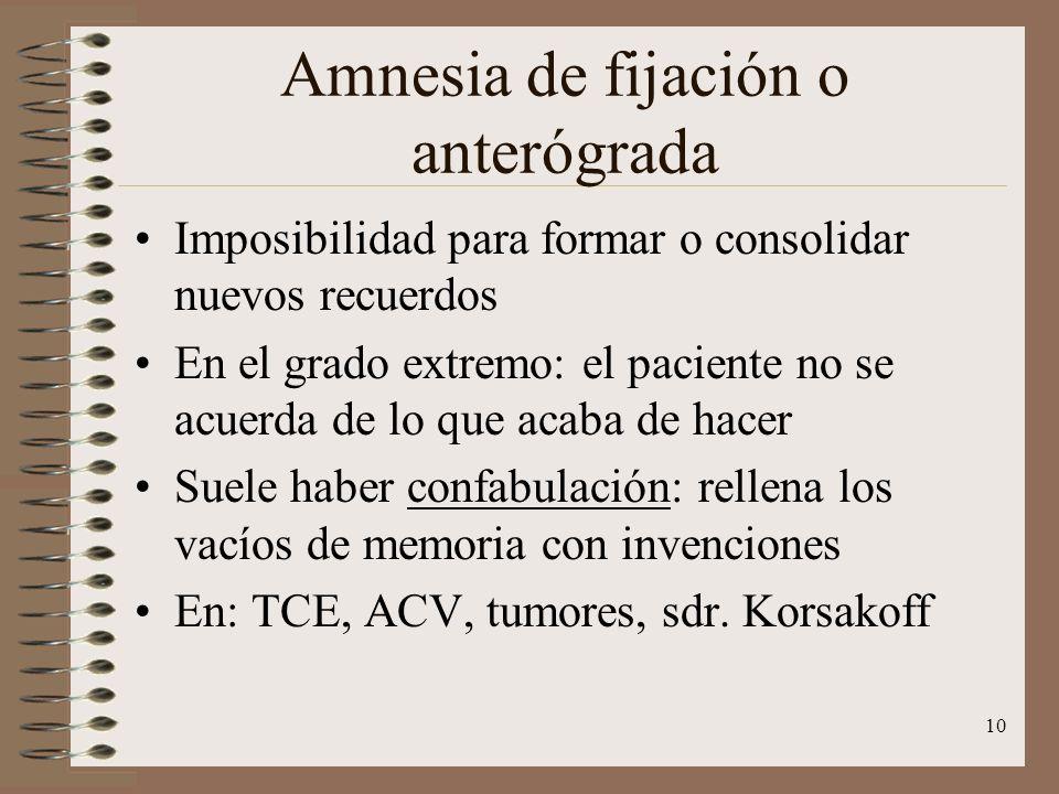 10 Amnesia de fijación o anterógrada Imposibilidad para formar o consolidar nuevos recuerdos En el grado extremo: el paciente no se acuerda de lo que