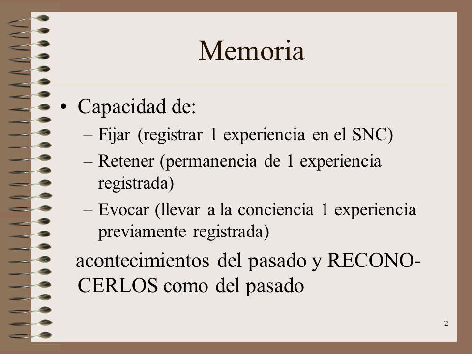 2 Memoria Capacidad de: –Fijar (registrar 1 experiencia en el SNC) –Retener (permanencia de 1 experiencia registrada) –Evocar (llevar a la conciencia