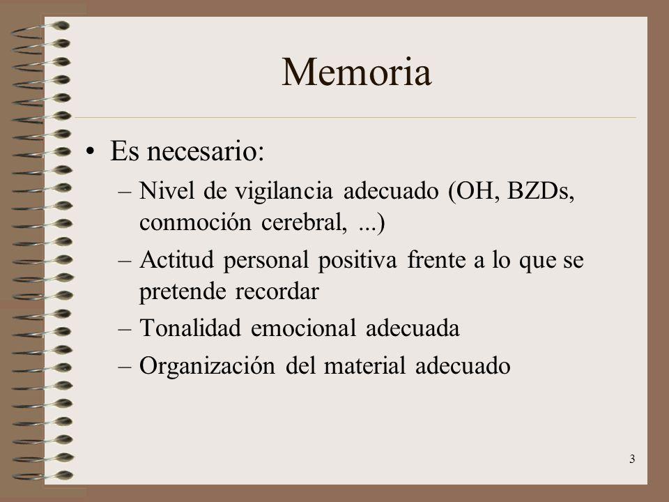 3 Memoria Es necesario: –Nivel de vigilancia adecuado (OH, BZDs, conmoción cerebral,...) –Actitud personal positiva frente a lo que se pretende record