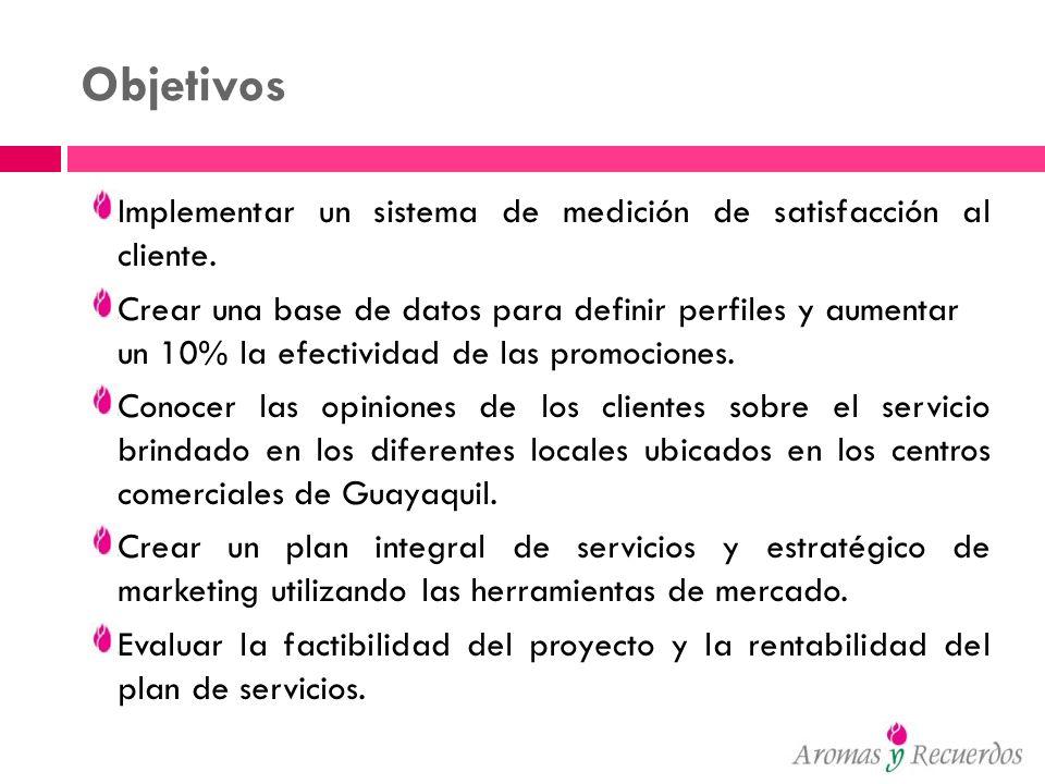 Objetivos del Plan Estratégico Implementar un sistema de personalización de productos y servicios, basándose en requerimientos y necesidades del comprador, así como en base a su conducta de compra y tendencias de mercado Tener información actualizada de opiniones y requerimientos de los clientes sobre el servicio brindado en los diferentes locales ubicados en los centros comerciales de Guayaquil