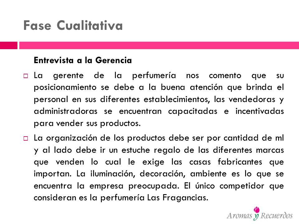 Fase Cualitativa Entrevista a la Gerencia La gerente de la perfumería nos comento que su posicionamiento se debe a la buena atención que brinda el per
