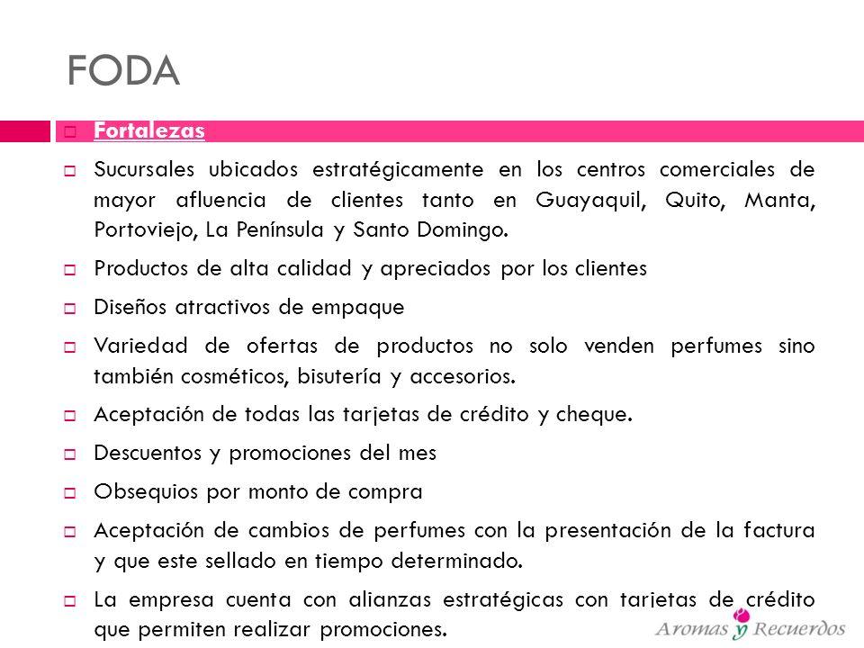FODA Fortalezas Sucursales ubicados estratégicamente en los centros comerciales de mayor afluencia de clientes tanto en Guayaquil, Quito, Manta, Porto