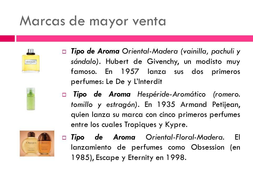 Marcas de mayor venta Tipo de Aroma Oriental-Madera (vainilla, pachuli y sándalo). Hubert de Givenchy, un modisto muy famoso. En 1957 lanza sus dos pr