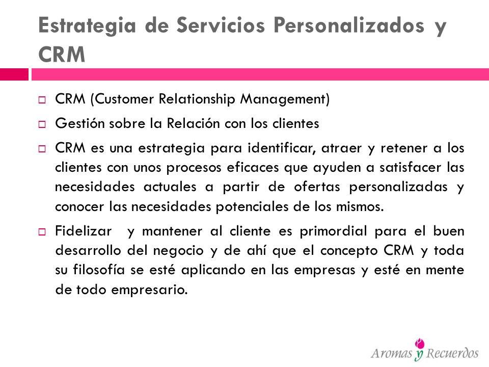 Estrategia de Servicios Personalizados y CRM CRM (Customer Relationship Management) Gestión sobre la Relación con los clientes CRM es una estrategia p