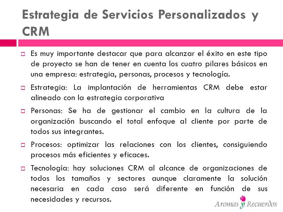 Estrategia de Servicios Personalizados y CRM Es muy importante destacar que para alcanzar el éxito en este tipo de proyecto se han de tener en cuenta