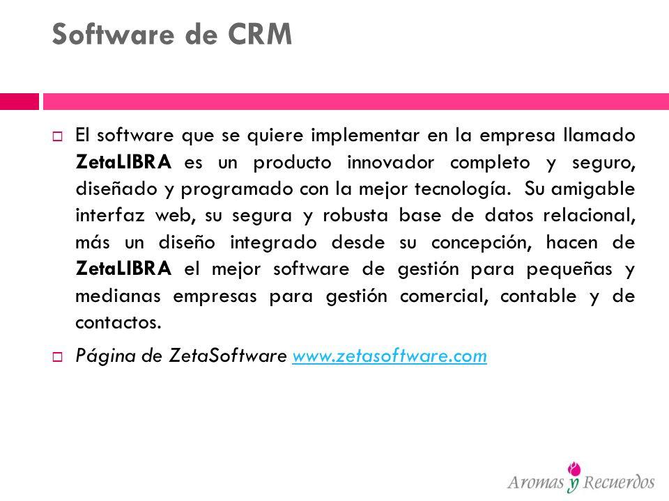 Software de CRM El software que se quiere implementar en la empresa llamado ZetaLIBRA es un producto innovador completo y seguro, diseñado y programad
