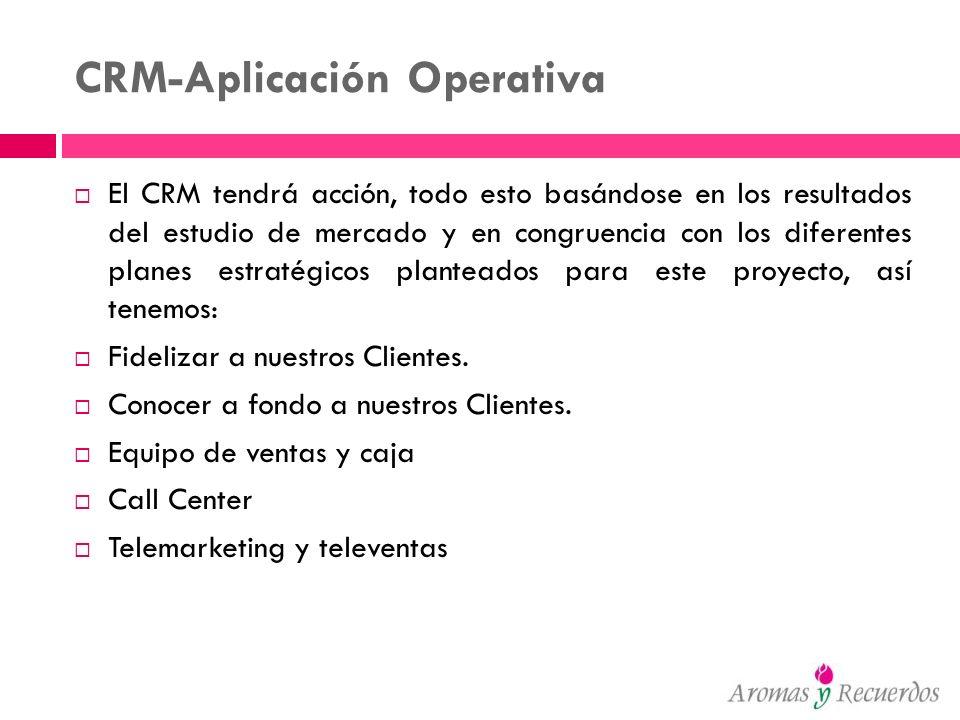 CRM-Aplicación Operativa El CRM tendrá acción, todo esto basándose en los resultados del estudio de mercado y en congruencia con los diferentes planes