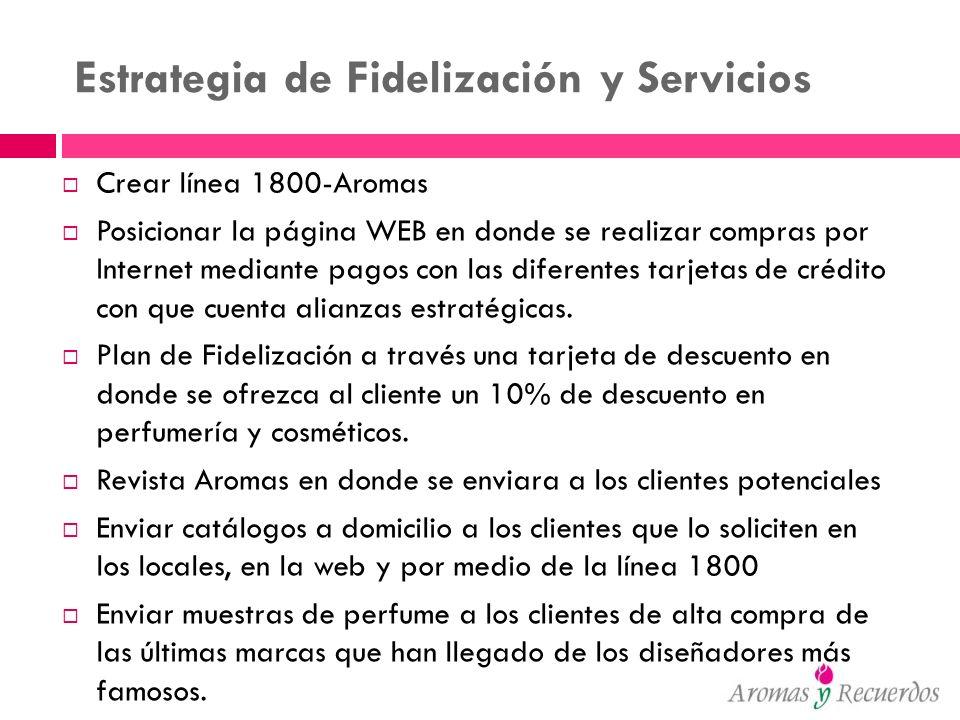 Estrategia de Fidelización y Servicios Crear línea 1800-Aromas Posicionar la página WEB en donde se realizar compras por Internet mediante pagos con l