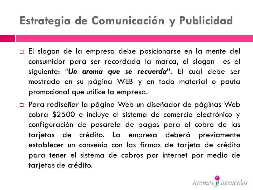 Estrategia de Comunicación y Publicidad El slogan de la empresa debe posicionarse en la mente del consumidor para ser recordada la marca, el slogan es