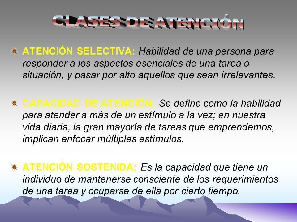 ATENCIÓN SELECTIVA: Habilidad de una persona para responder a los aspectos esenciales de una tarea o situación, y pasar por alto aquellos que sean irrelevantes.