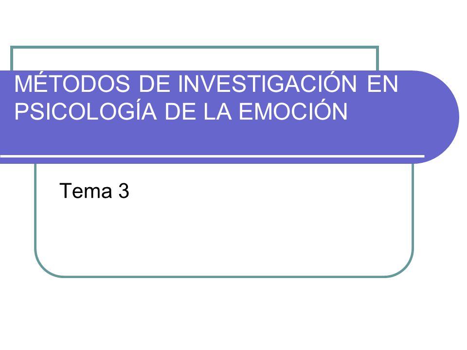 MÉTODOS DE INVESTIGACIÓN EN PSICOLOGÍA DE LA EMOCIÓN Tema 3