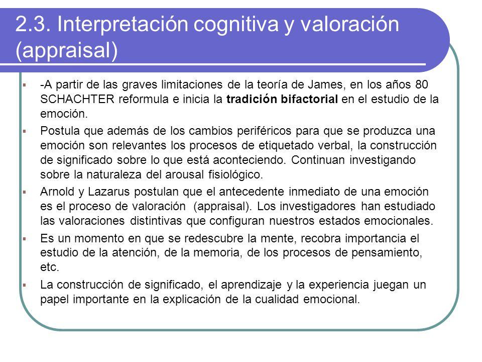 2.3. Interpretación cognitiva y valoración (appraisal) -A partir de las graves limitaciones de la teoría de James, en los años 80 SCHACHTER reformula