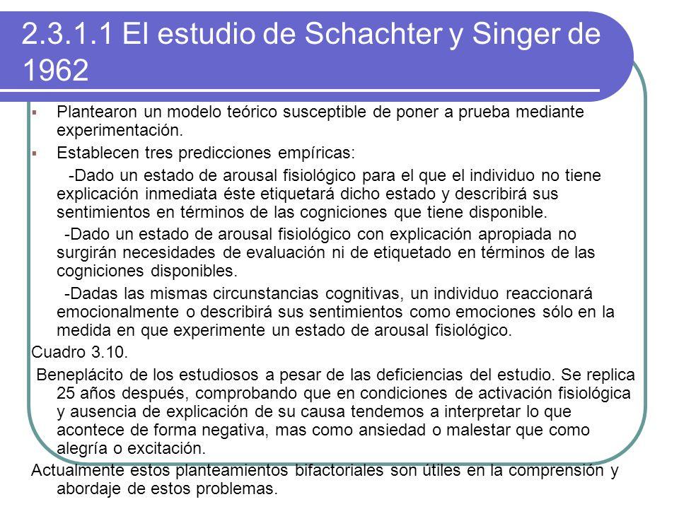2.3.1.1 El estudio de Schachter y Singer de 1962 Plantearon un modelo teórico susceptible de poner a prueba mediante experimentación. Establecen tres