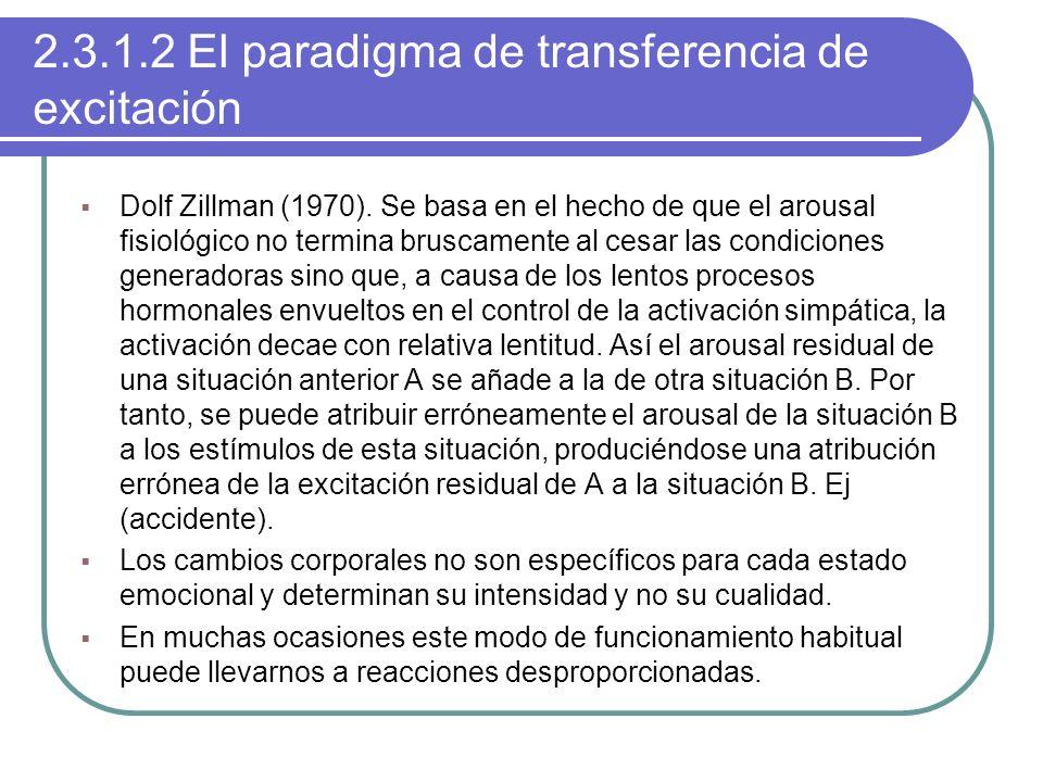 2.3.1.2 El paradigma de transferencia de excitación Dolf Zillman (1970). Se basa en el hecho de que el arousal fisiológico no termina bruscamente al c
