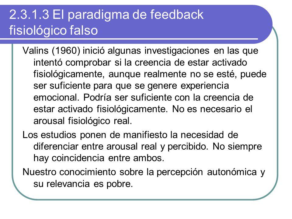 2.3.1.3 El paradigma de feedback fisiológico falso Valins (1960) inició algunas investigaciones en las que intentó comprobar si la creencia de estar a