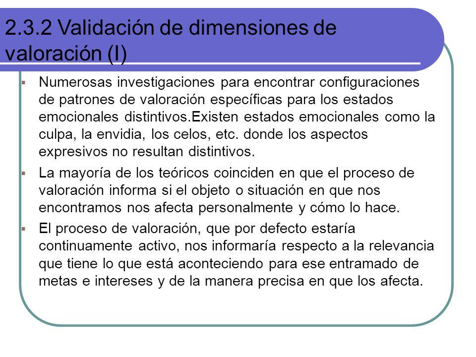 Numerosas investigaciones para encontrar configuraciones de patrones de valoración específicas para los estados emocionales distintivos.Existen estado