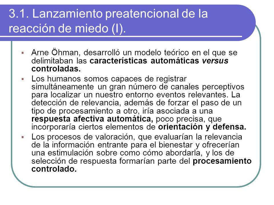 3.1. Lanzamiento preatencional de la reacción de miedo (I). Arne Öhman, desarrolló un modelo teórico en el que se delimitaban las características auto