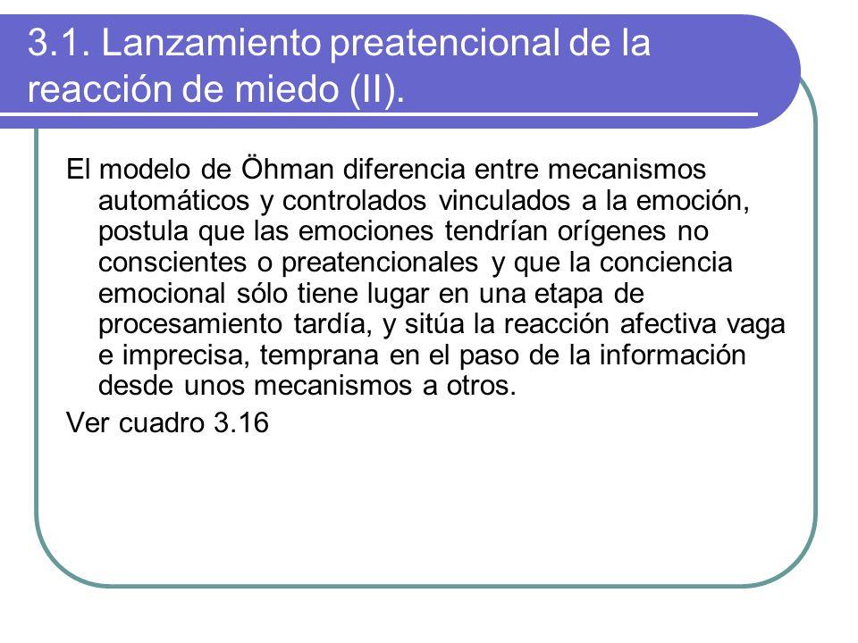 3.1. Lanzamiento preatencional de la reacción de miedo (II). El modelo de Öhman diferencia entre mecanismos automáticos y controlados vinculados a la