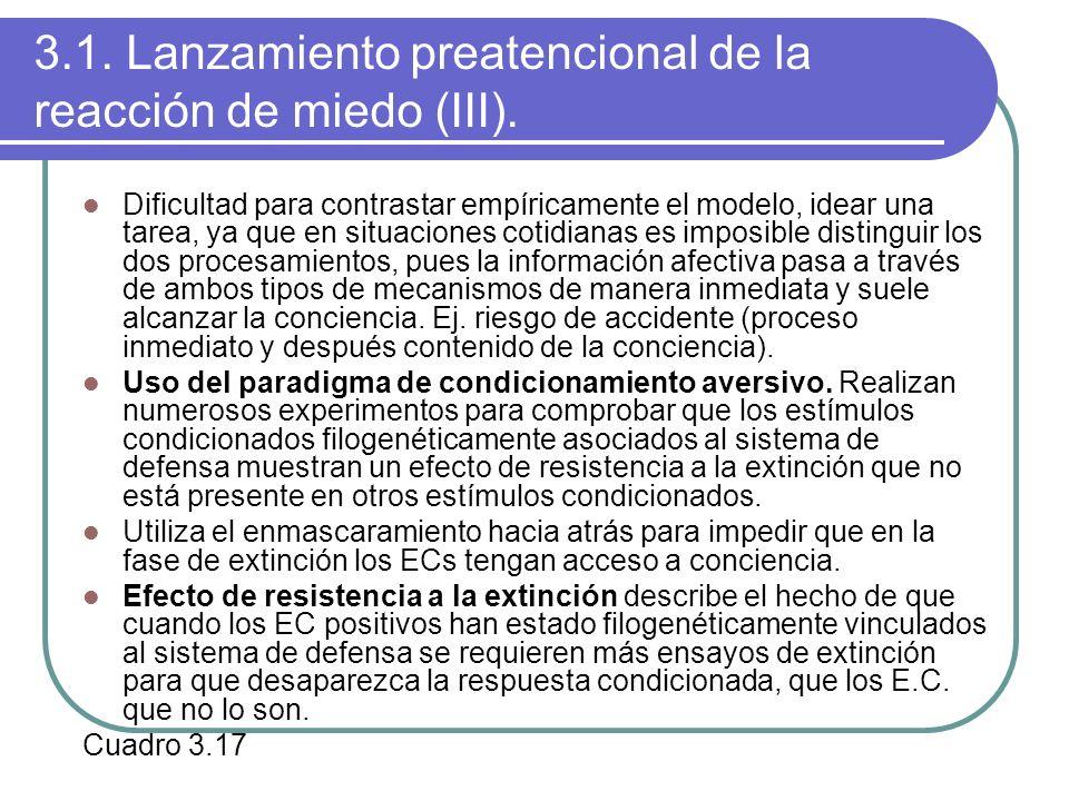 3.1. Lanzamiento preatencional de la reacción de miedo (III). Dificultad para contrastar empíricamente el modelo, idear una tarea, ya que en situacion