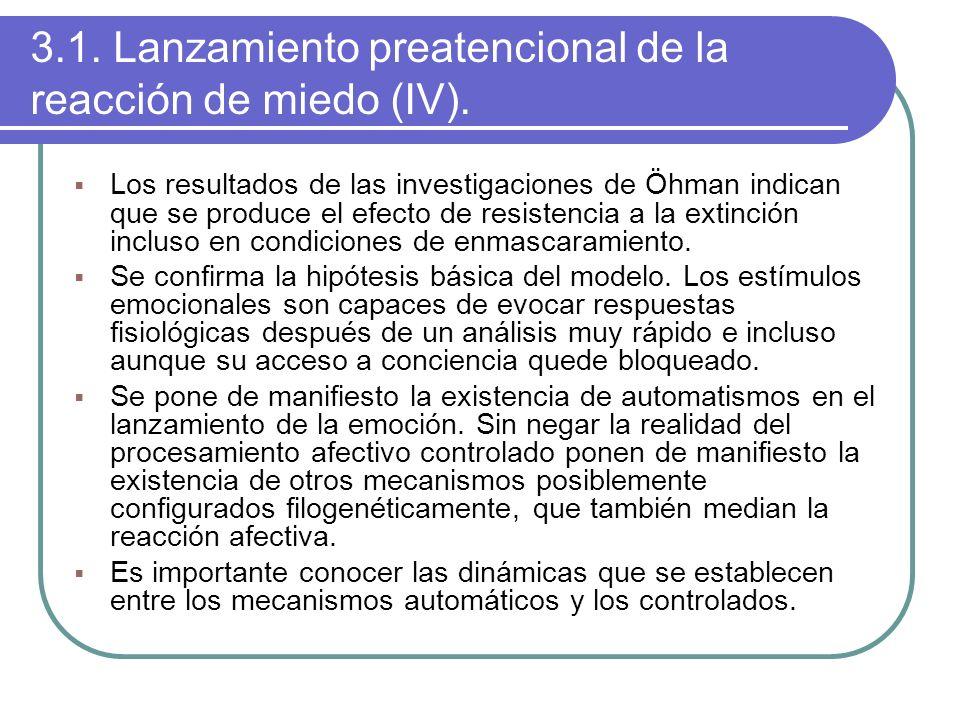 3.1. Lanzamiento preatencional de la reacción de miedo (IV). Los resultados de las investigaciones de Öhman indican que se produce el efecto de resist