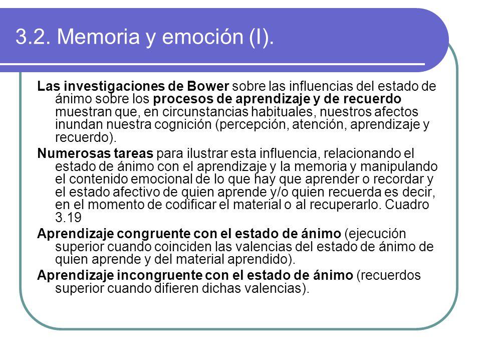 3.2. Memoria y emoción (I). Las investigaciones de Bower sobre las influencias del estado de ánimo sobre los procesos de aprendizaje y de recuerdo mue