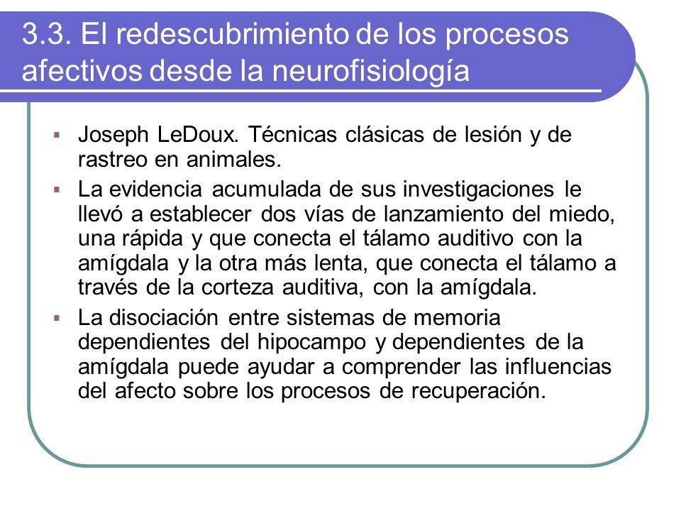 3.3. El redescubrimiento de los procesos afectivos desde la neurofisiología Joseph LeDoux. Técnicas clásicas de lesión y de rastreo en animales. La ev