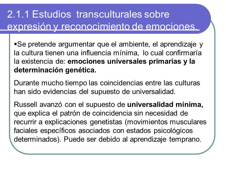 2.1.1 Estudios transculturales sobre expresión y reconocimiento de emociones. Se pretende argumentar que el ambiente, el aprendizaje y la cultura tien