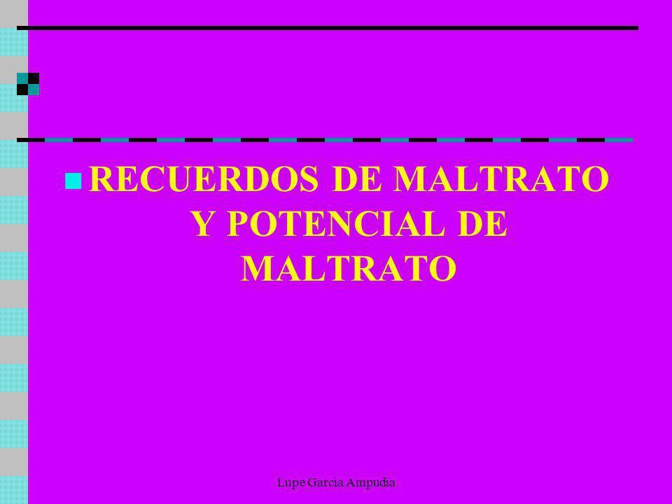 RECUERDOS DE MALTRATO Y POTENCIAL DE MALTRATO Lupe Garcia Ampudia